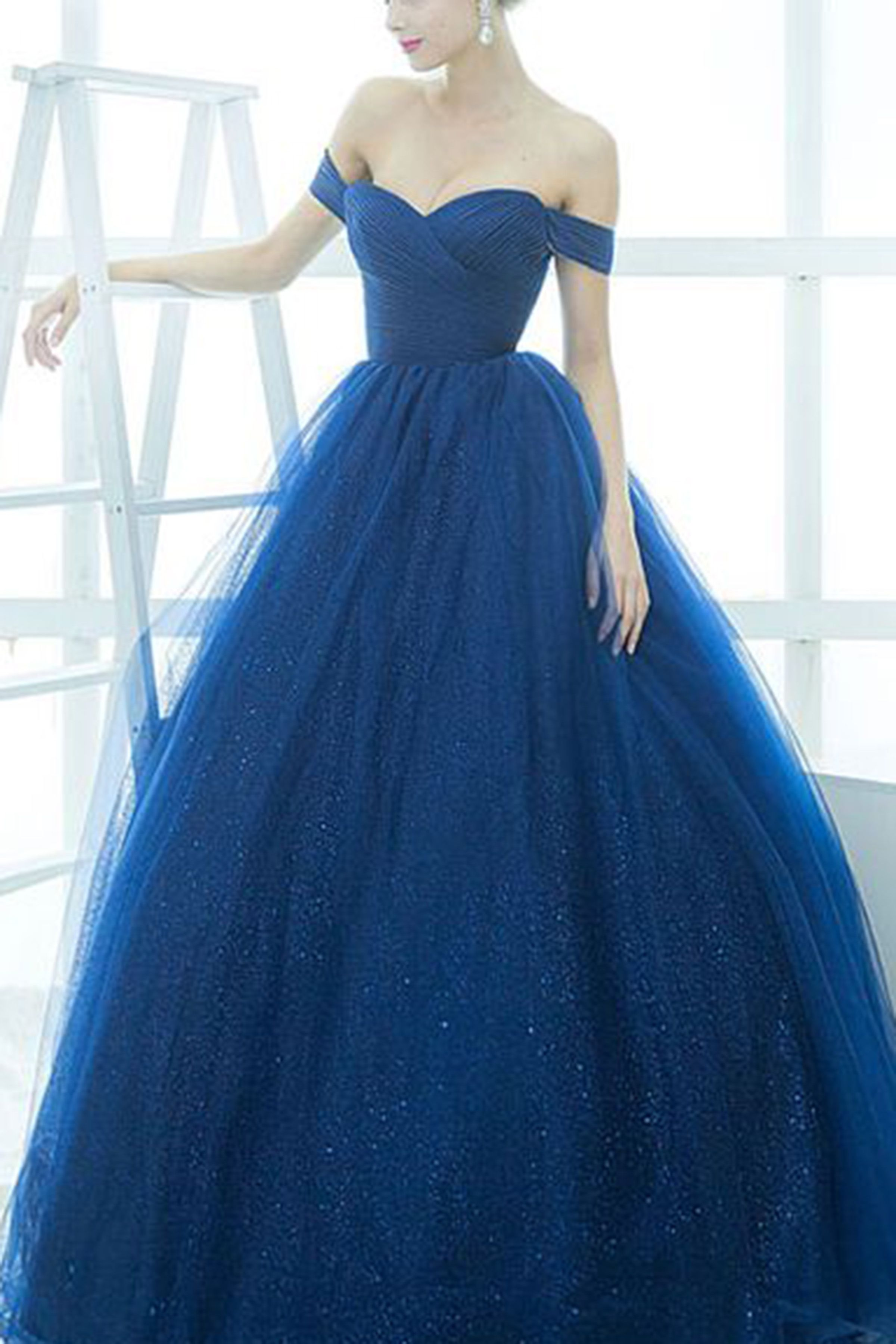Royal blue organza off-shoulder simple ball gown dresses ...