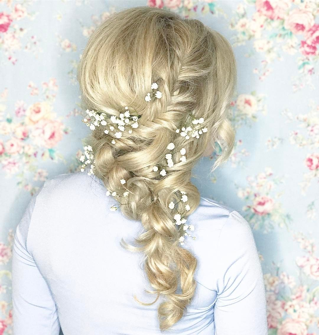 Sideswept hairstyle for maternity shoot Fishtail braid bridal hair ...