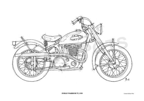 Indian Warrior Tt 1950 Original Handmade Drawing Fine By Drawspots 42 00 Motorcycle Art Print Personalize Art Motorcycle Drawing
