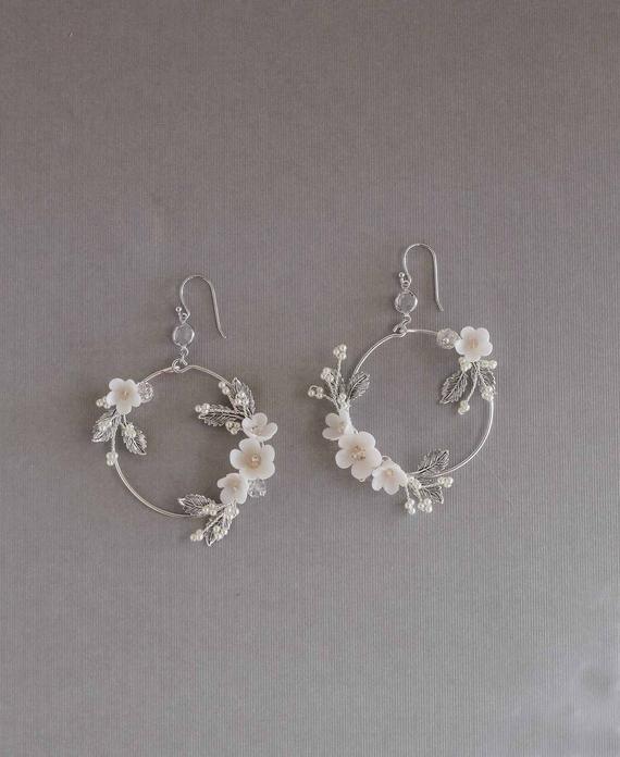 Bridal Statement Earrings, Floral Bridal Earrings. Statement Hoop Earrings, hoop earrings, wedding jewelery, modern bridal earrings