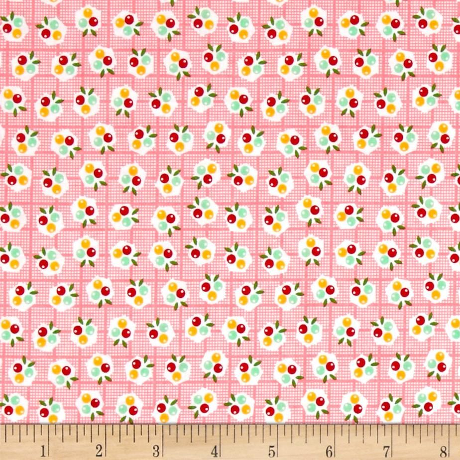 Riley Blake Backyard Roses Berries Pink from @fabricdotcom  Designed by Nadra Ridgeway for Riley Blake Designs, this shabby chic collection is perfect for quilting, apparel, and home decor accents. Colors include pink, white, green, mint, yellow, and red.