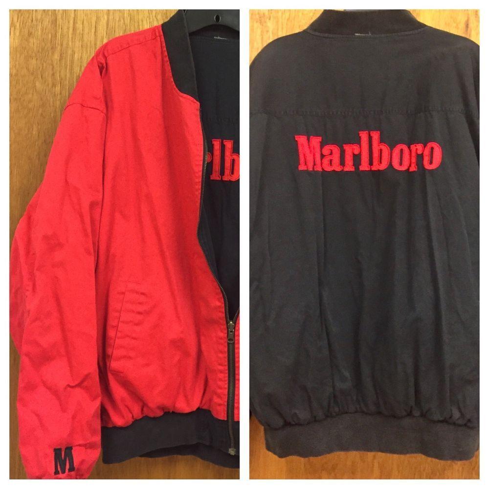 Marlboro Man Reversible Flight Jacket Bomber Black Red Vtg Advertising Tobacco Ebay Flight Jacket Bomber Jacket Black And Red