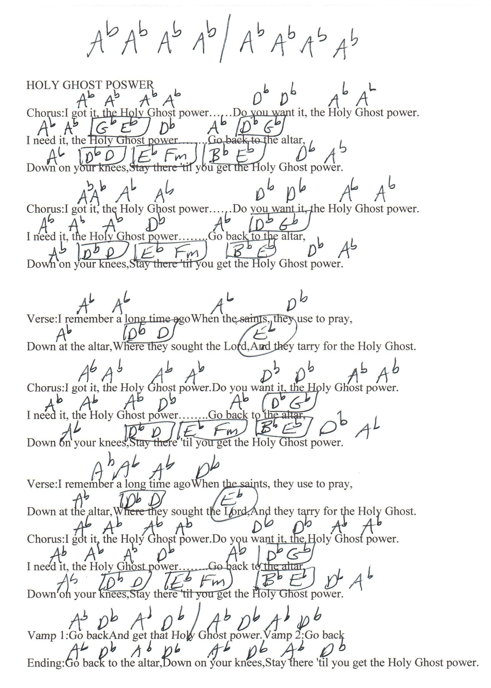 Holy Ghost Power Chicago Mass Choir Guitar Chord Chart Guitar