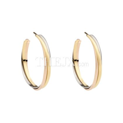 Replica Cartier Clic 18k 3 Gold Hoop Earrings 1 High Quality