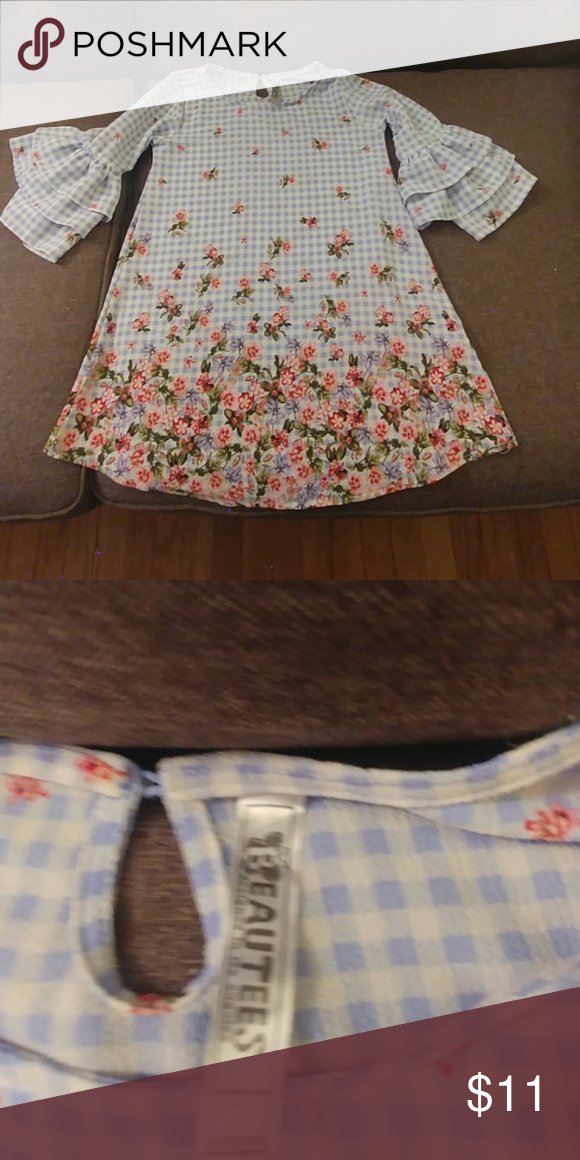 49183457b6d3 Girls long floral top Girls worn a few times floral top will bell sleeves.  Could also be worn as a dress woth