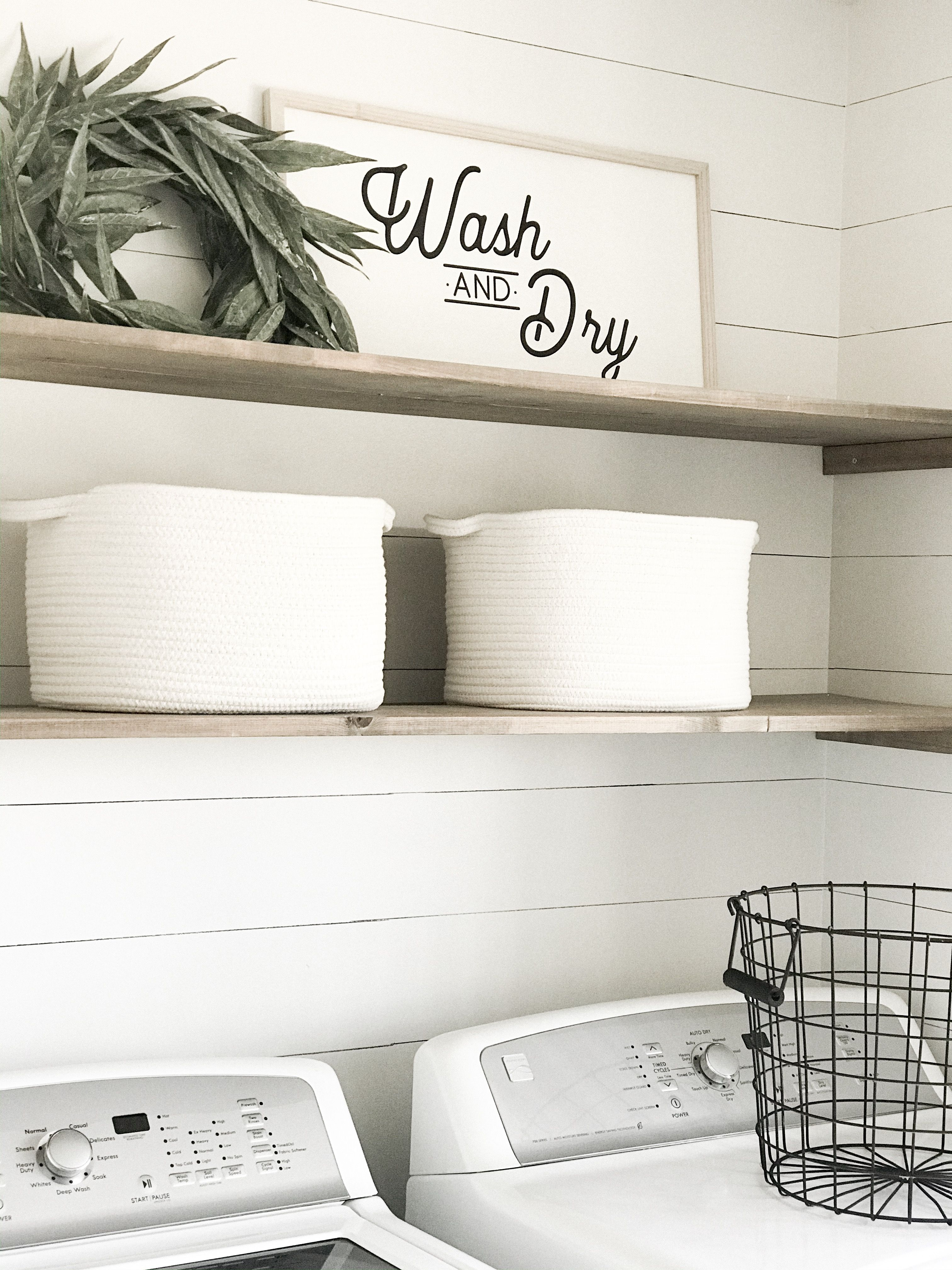 Diy laundry room shelving and sharpie Shiplap. Farmhouse laundry