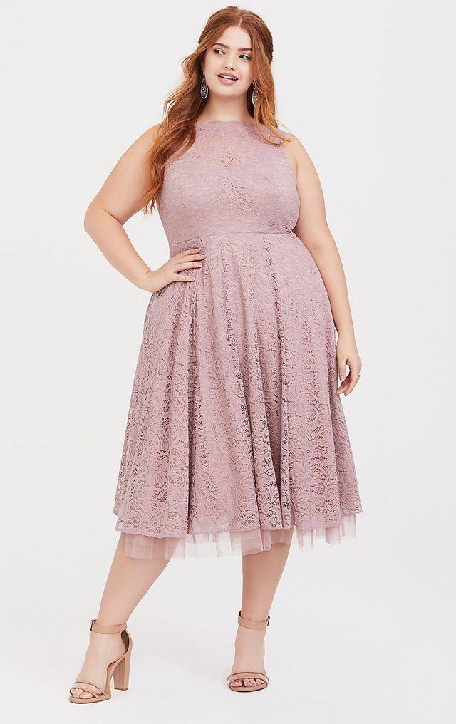 Elegant Dusky Pink Midi Dress | Plus Size Fashion (mit ...