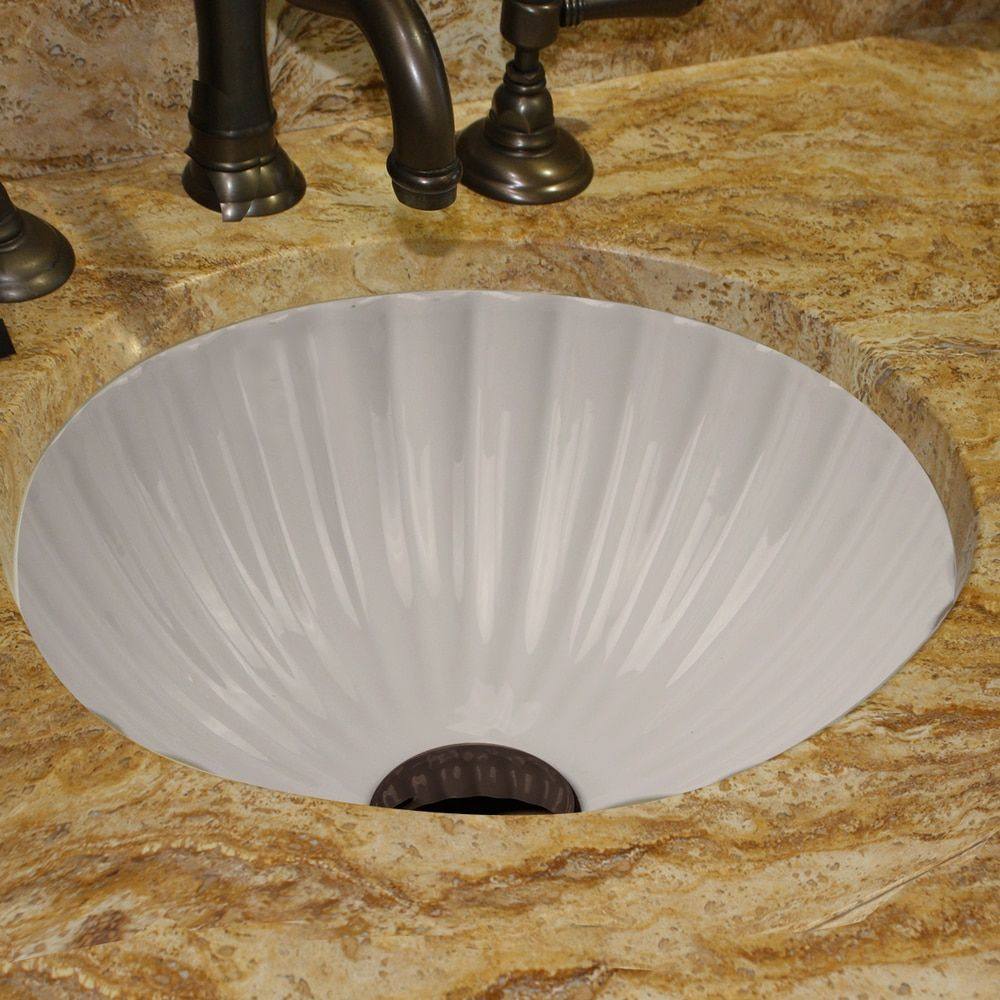 Highpoint Collection 12 Inch Round White Bathroom Vanity Undermount Sink With Scalloped Basin White Vanity Bathroom Scallop Bathroom Sink Undermount Sink