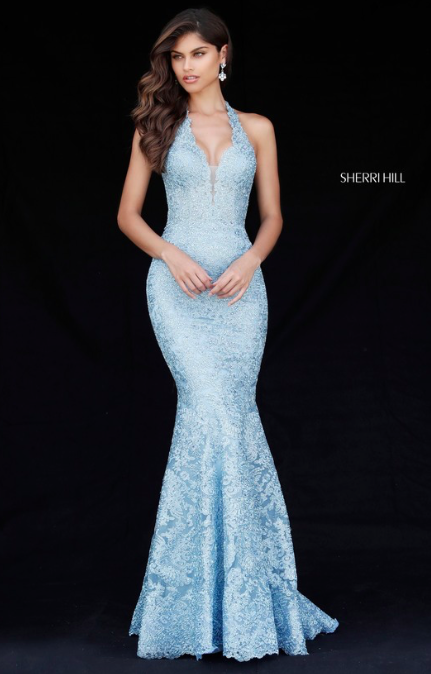 721748309ea5c SHERRI HILL 51616 Spring 2018 Collection Baby Blue Light Blue Lace Fitted  Mermaid Halter Top Neckline YPSILON DRESSES Prom Pageant Evening Wear  Sweethearts ...