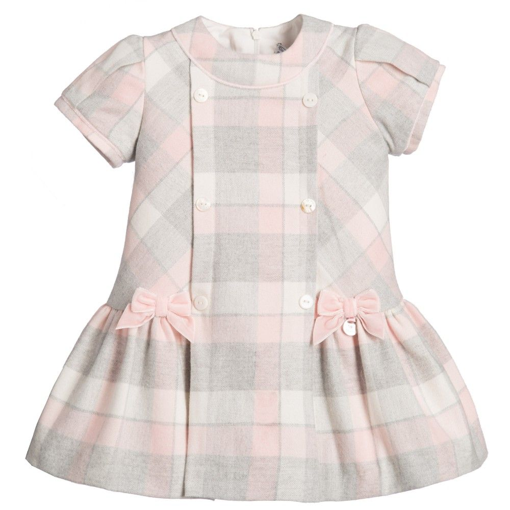 ab4936d5c37f Mayoral Baby Girls Pink   Grey Checked Cotton Dress at Childrensalon ...