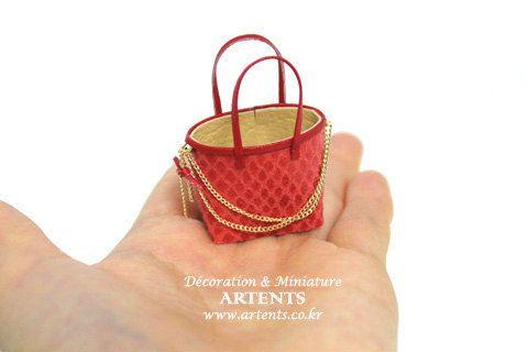 Orange sidechain miniature bag Designer Artisan handmade purse handbag for 1:12 dollhouse