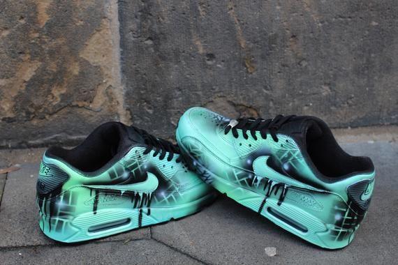 "Custom Nike Air max 90 menthe Black Abstract graffiti Drip Sneaker UNIKAT Rare ""SALE"" Prix pour une courte période"