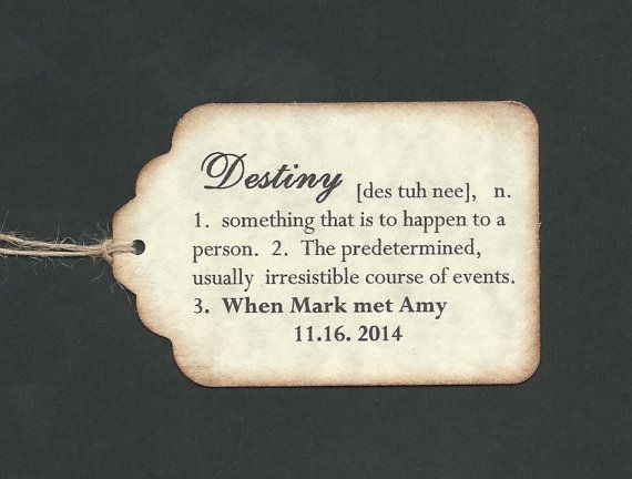 100 Definition Of Destiny Hang Tags Personalized Wedding Favor Place