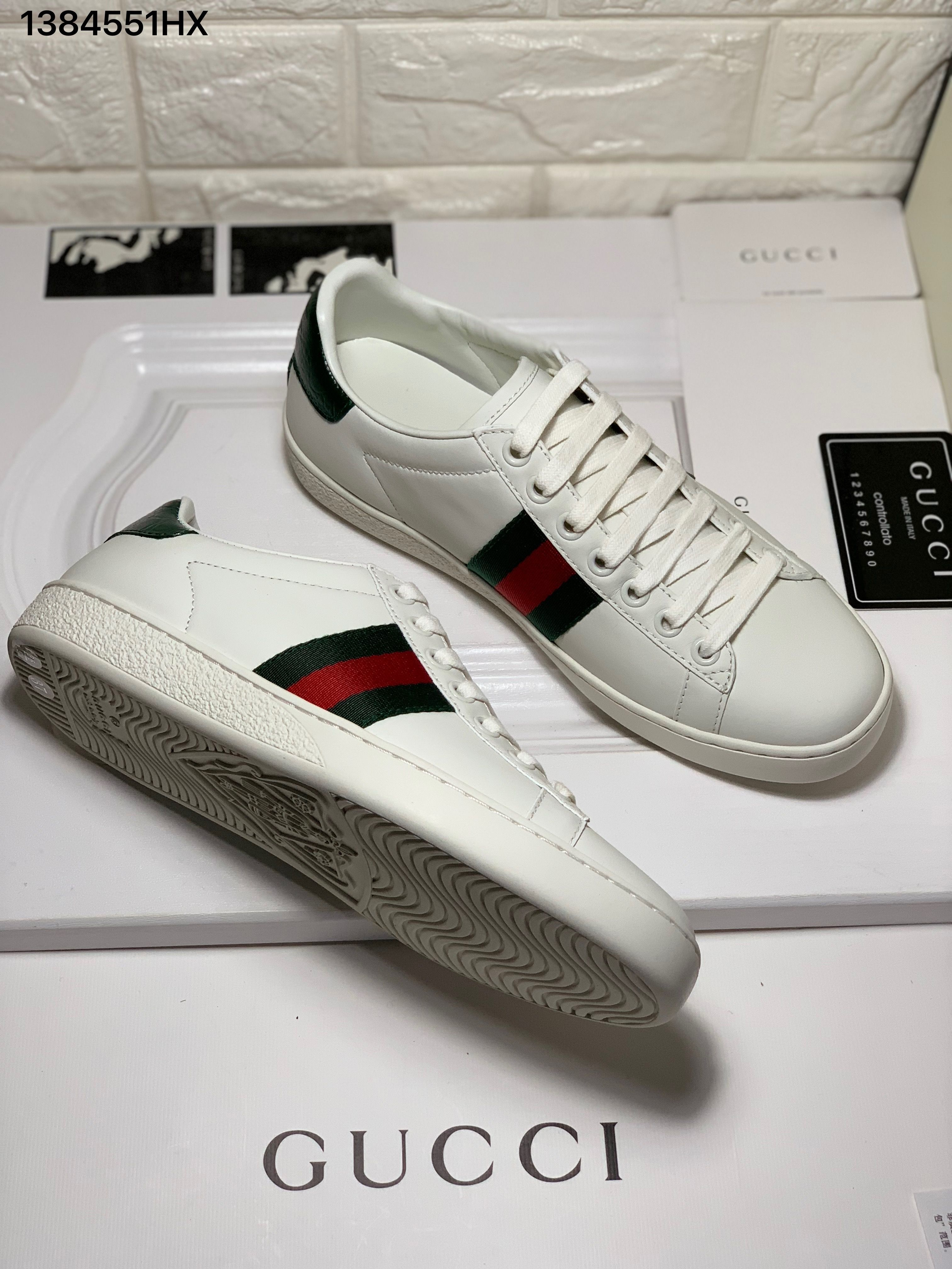 Gucci ace sneakers croc green backside white leather shoes