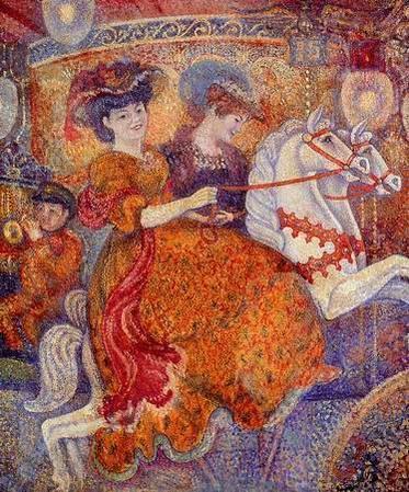 Carnival the Carousel   Art Nouveau (Modern) - Georges Lemmen 1865 - 1916 -  Belgian neo-impressionist painter -   Post Impressionist and Art Nouveau Movement, Influenced by Georges Seurat