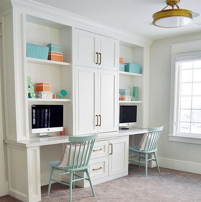 Simply White Living Room Ideas: Loft Area Features A Built In Desk For Two. Cabinet Paint