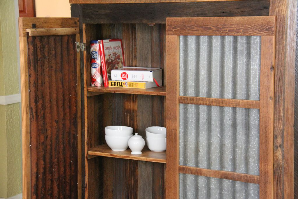 Rustic cabinet doors Rustic Kitchen Rustic Pantry Cabinet Tin Roofing For The Door Panels And Reclaimed Barn Wood For The Construction Pinterest Rustic Pantry Cabinet Tin Roofing For The Door Panels And Reclaimed