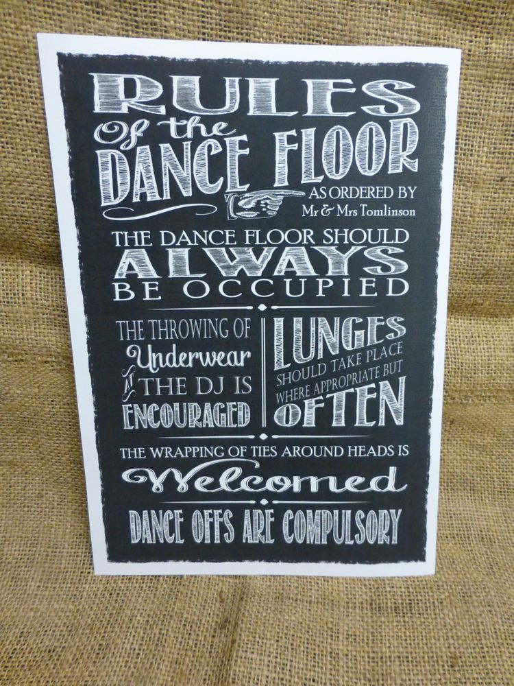 Personalised Chalkboard Style Dance Floor Rules Sign Wedding Band Dj