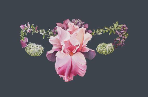 Floral Uterus Female Anatomy Print of Oil Painting - Anatomical Art ...