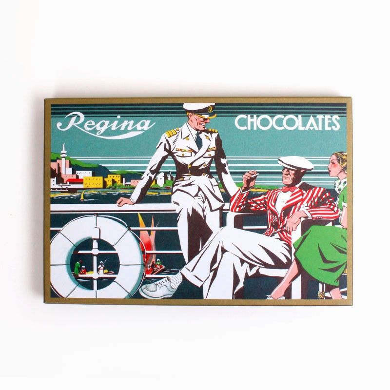 REGINA CHOCOLATE BOX. Vintage chocolate box with 3 Regina chocolates.