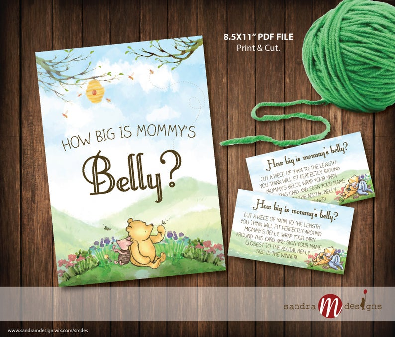 Classic Winnie the Pooh Baby Shower How Big is Mommys Belly Game Printable