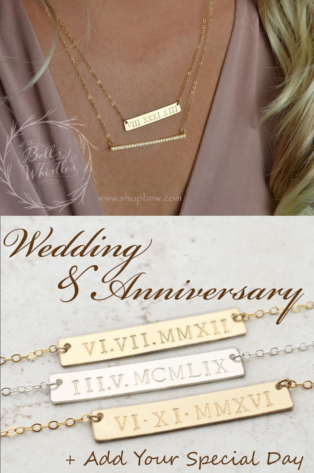 Roman Numeral Necklace Anniversary Gift Custom Date