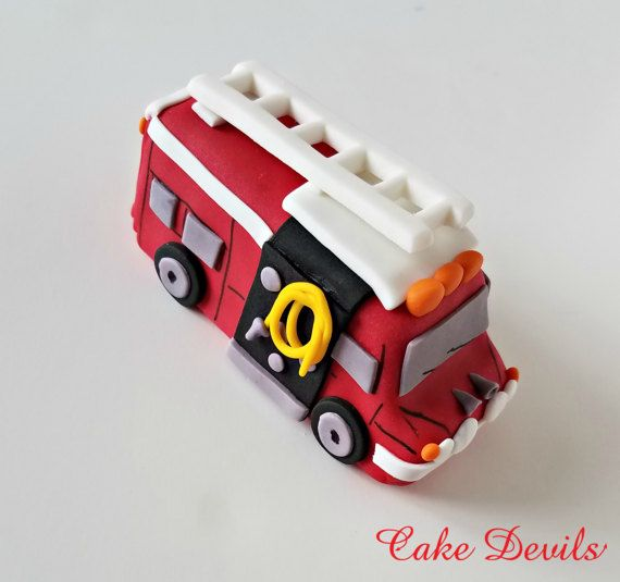 Fire Truck Cake Topper Fondant Handmade Edible Firetruck Cake Decorations Car Transportation Birthday Cake Emergency Services Cake Firetruck Cake Fire Engine Cake Truck Cakes