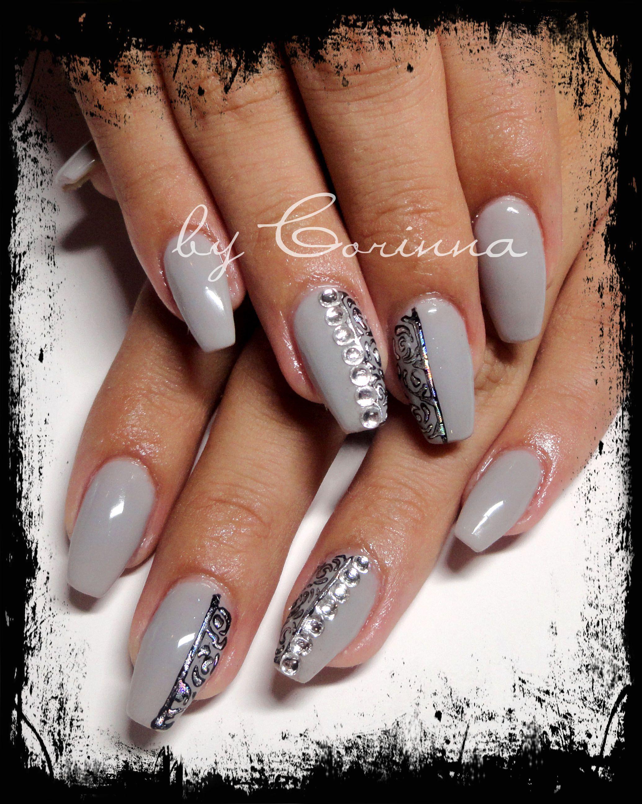 light #grey #foil #nailart #swarovski #strass #ballerina #nailshape ...