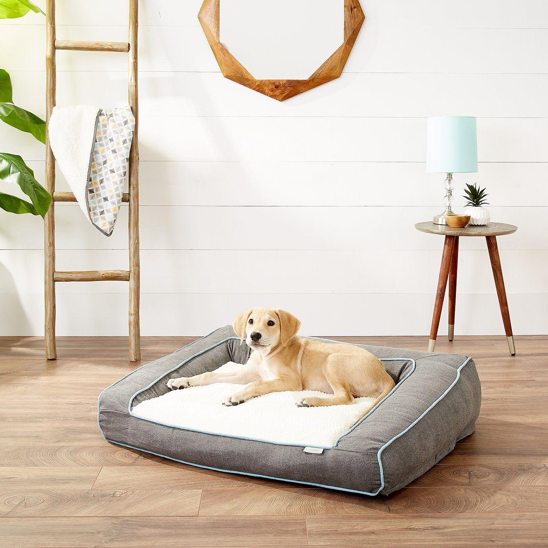 Frisco Ortho Textured Plush Bolster Sofa Dog Bed , Large