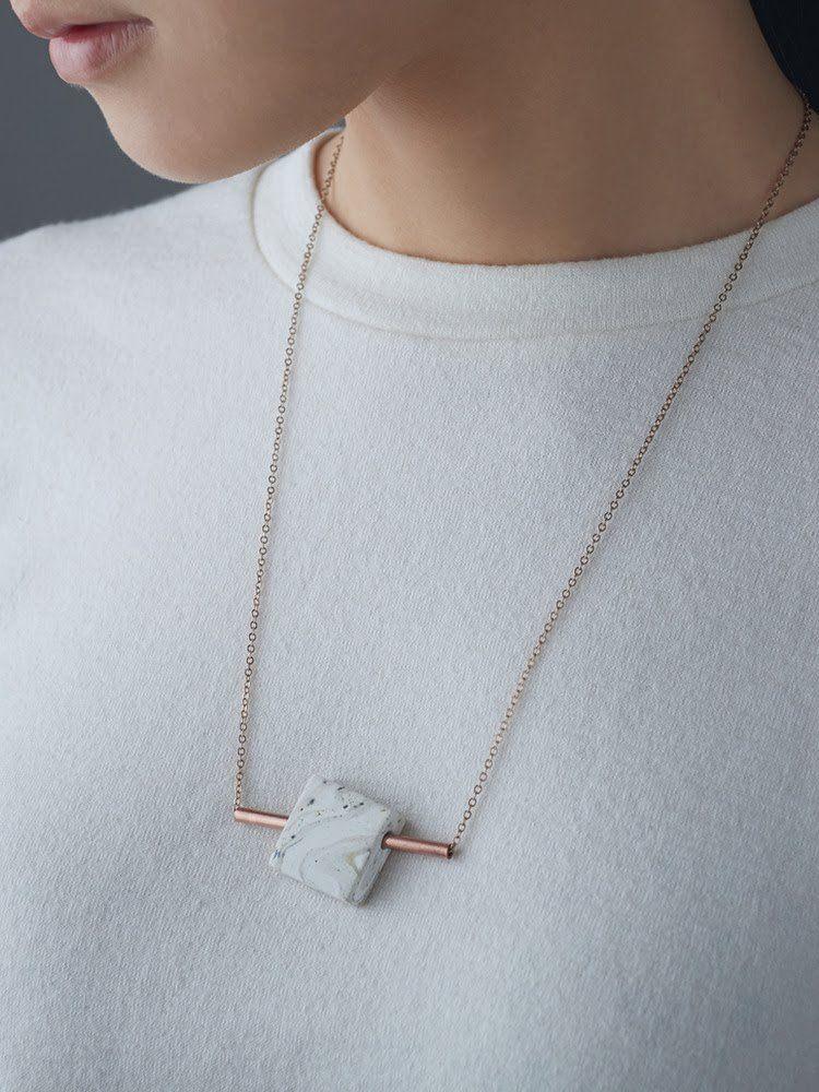 Concrete Pendant Necklace copper  leaf minimal modern handmade jewelry