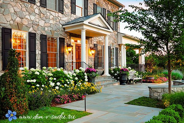Ландшафтный дизайн входной зоны частного дома