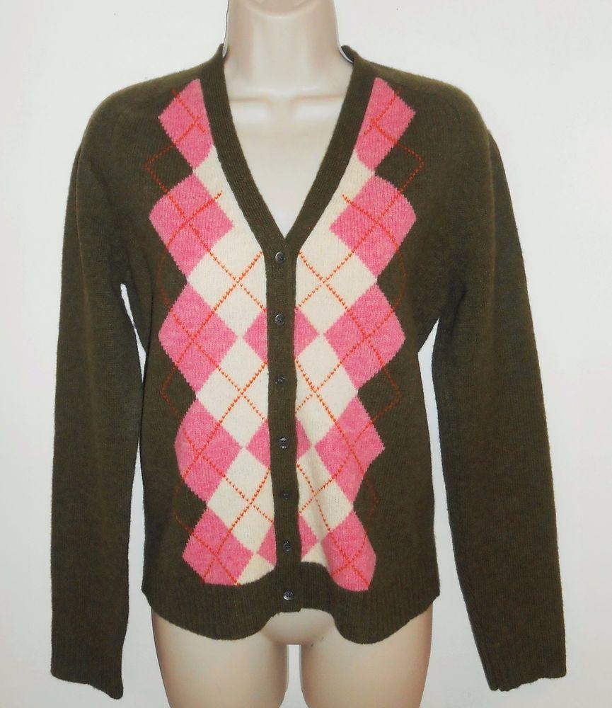 J Crew Medium Lambs Wool Cardigan Sweater Argyle M Olive Green ...