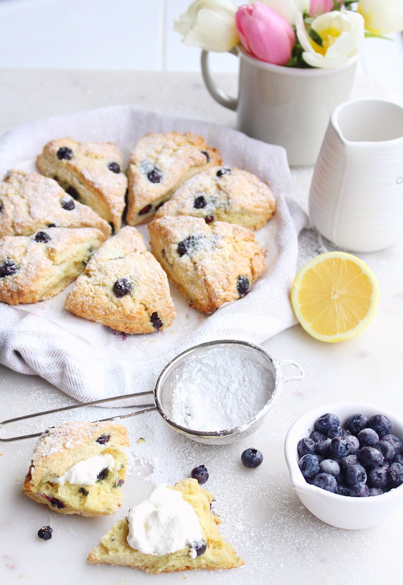Blueberry Sour Cream Scones The Sweet And Simple Kitchen Sour Cream Scones Scone Recipe With Sour Cream Sour Cream Recipes
