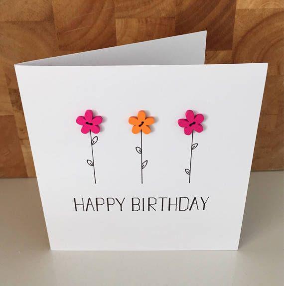Handmade Happy Birthday Greetings Card Pink And Orange Flower