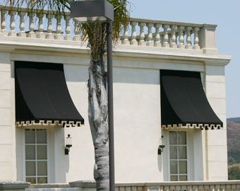 Black Fabric Window Awnings  Square Edge Design  Decorative Fixed Canopies Installation & Black Fabric Window Awnings : Square Edge Design : Decorative ...