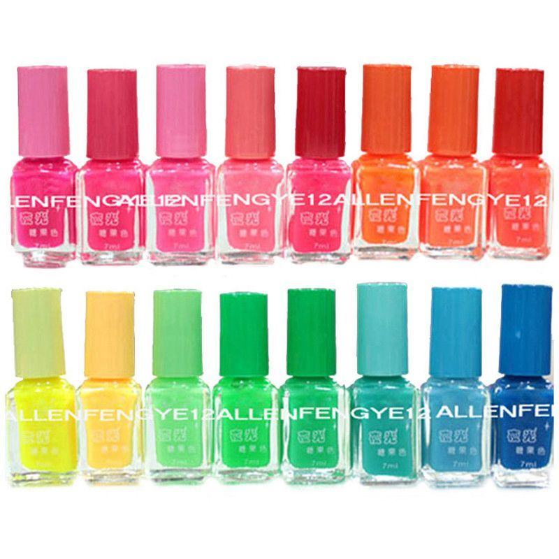 4pcslot New 20 Colors 7ml Fluorescent Neon Nail Art Polish Glow In