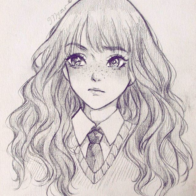 Drawing hermione granger she is so intelligent and beautiful but the feeling is mine omg i - Harry potter dessin ...
