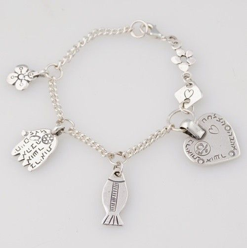 The silver heart charm bracelet by the Israeli Jewelry Designer