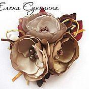 """Брошь """"Chocolate candy"""" - коричневый,брошь,брошь в форме цветка,брошь цветок"""