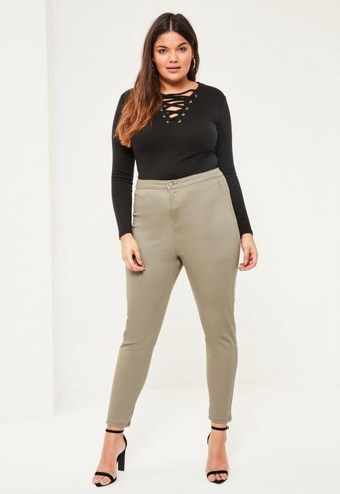 685b0c4576e Missguided Plus Size Khaki High Waisted Skinny Jeans