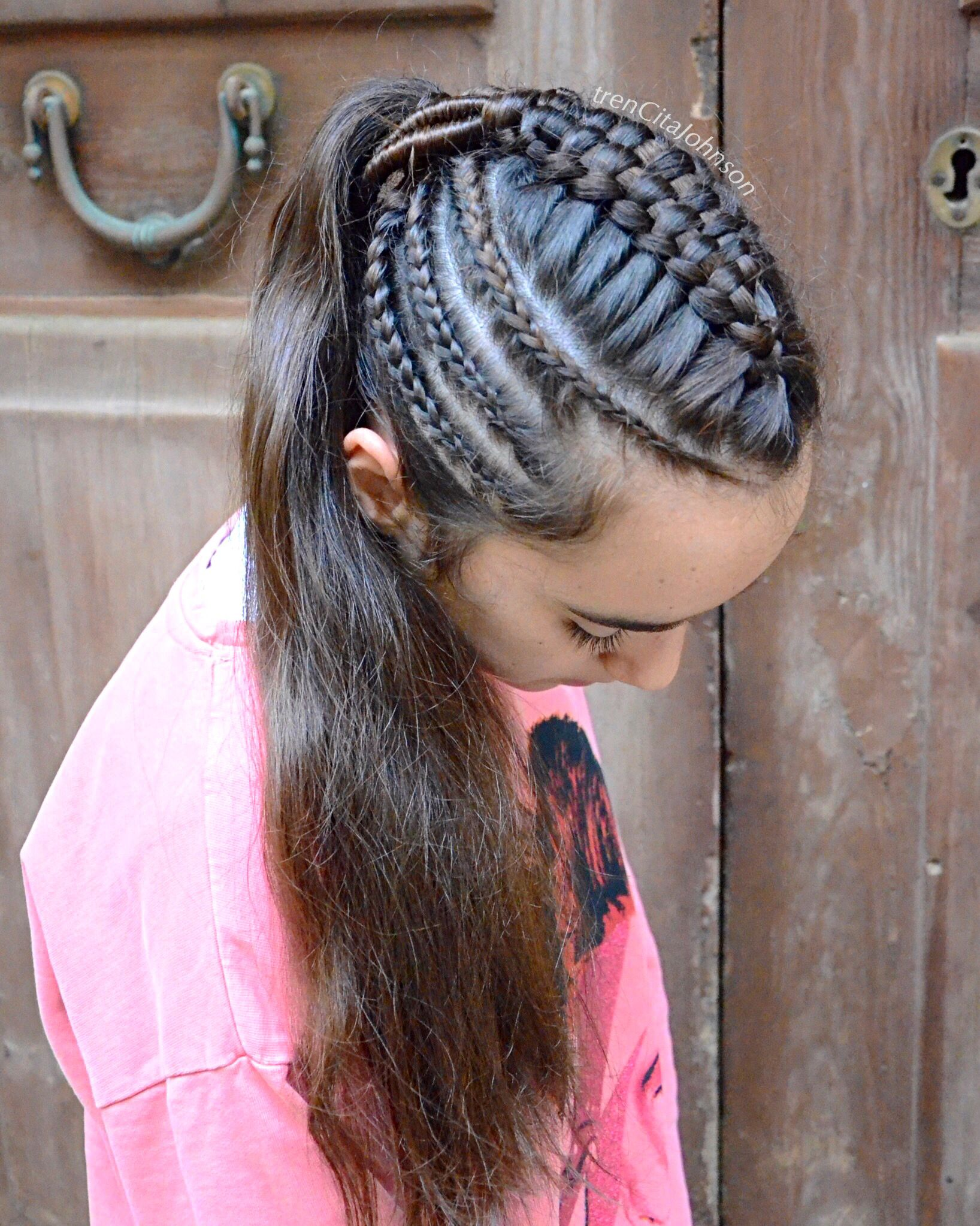 Ponytail With Suspended Infinity Braid And Cornrow Accents Braids For Long Hair Hair Hacks Amber Hair