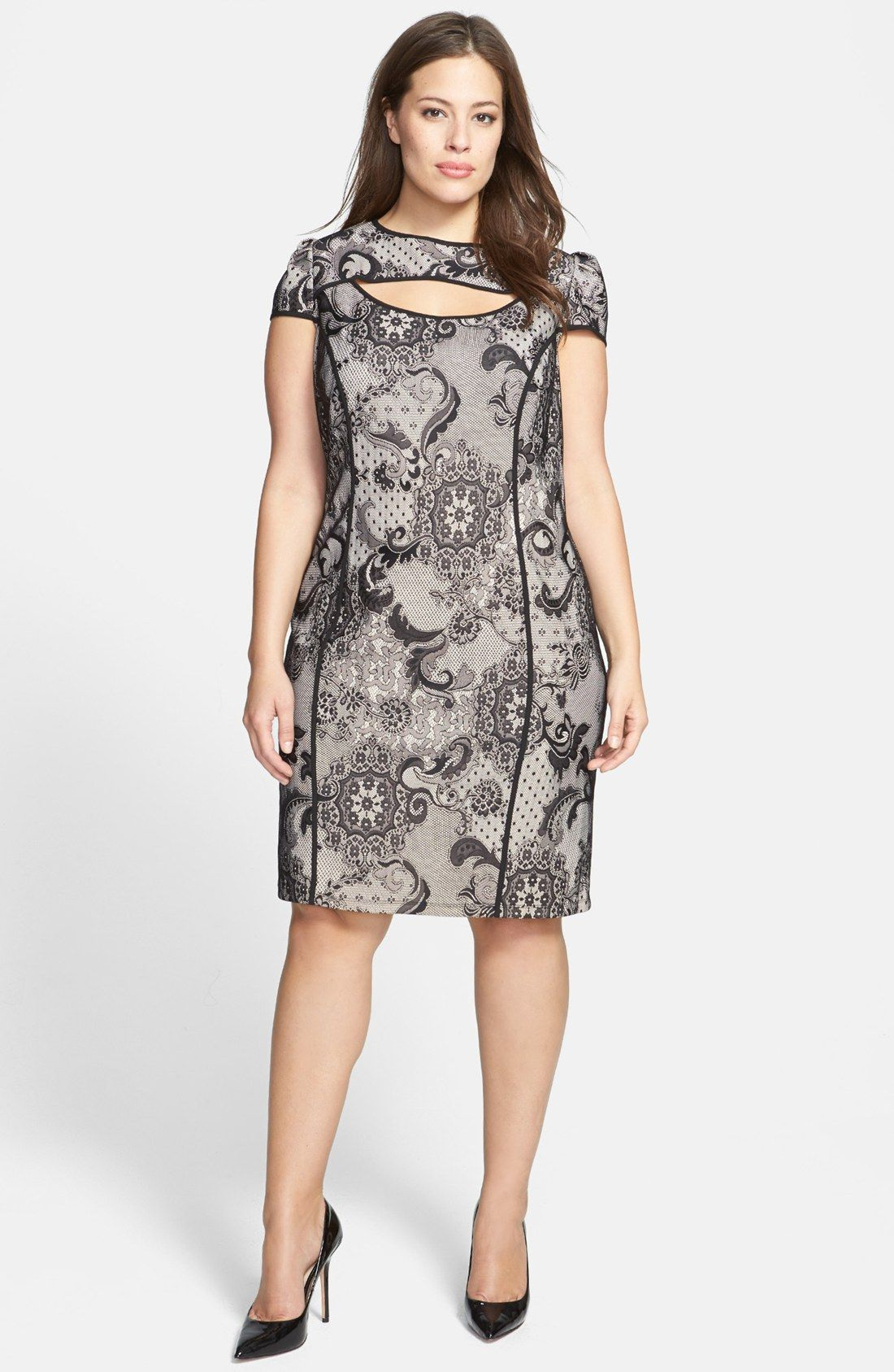 ABS by Allen Schwartz Cutout Lace Sheath Dress Plus Size
