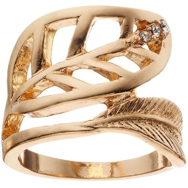 Apt. 9 Leaf Ring (Yellow) (€7,02) ❤ liked on Polyvore