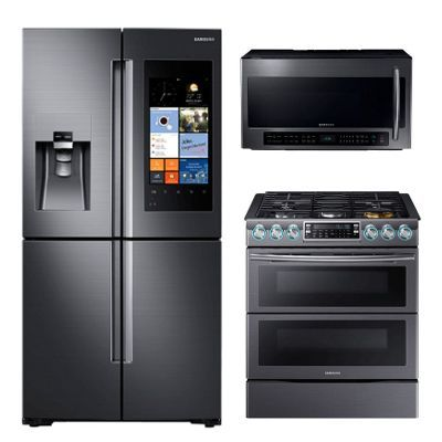 KIT Samsung Black Stainless Steel 3 Piece Kitchen Appliance Package ...