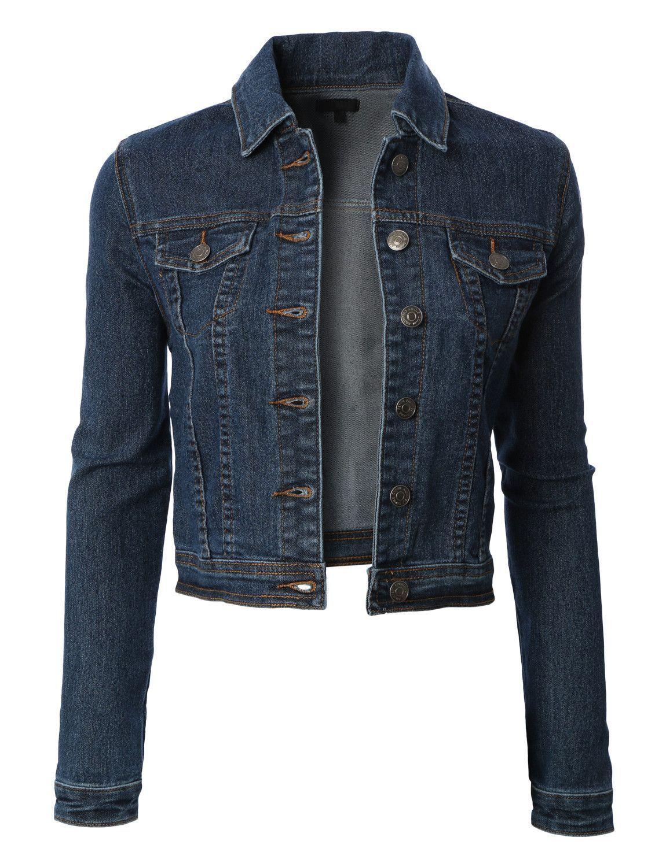 Womens Classic Cropped Long Sleeve Denim Jean Jacket With Pockets Denim Jacket Women Vintage Denim Jacket Womens Vintage Denim Jacket [ 1500 x 1150 Pixel ]