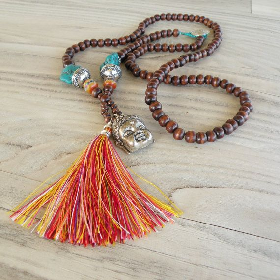 Long Tassel Necklace Colorful Bohemian Mala Style por GypsyIntent