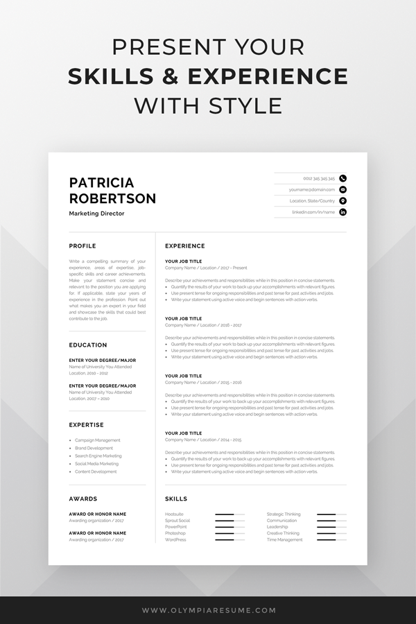 Professional 1 Page Resume Template Modern One Page Cv Etsy Resume Template Word Resume Template Professional One Page Resume Template