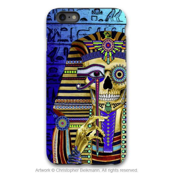 "Egyptian Skull iPhone 6 6s Plus Case - ""Funky Bone Pharaoh"" - Egypt sugar skull case - Artistic Case for iPhone 6 6s Plus"