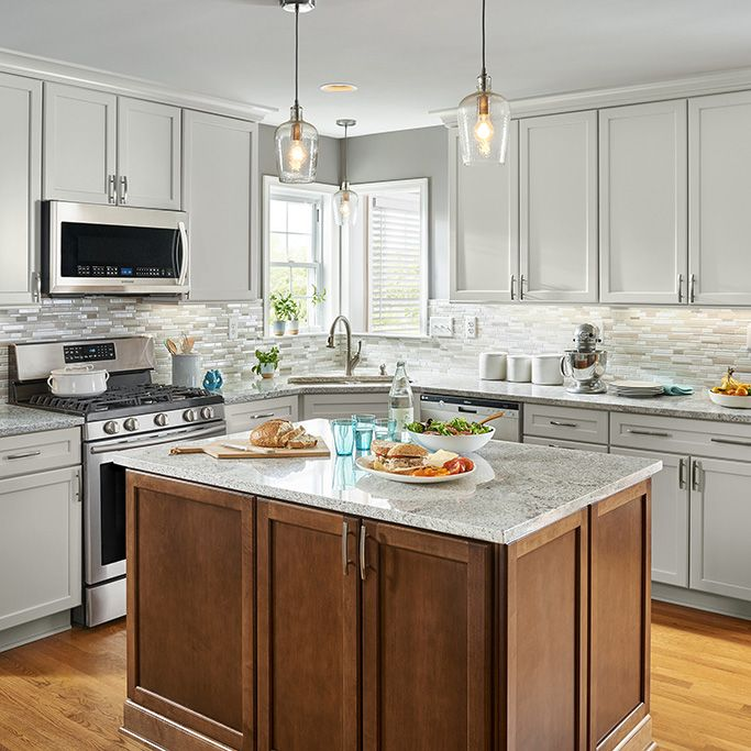 Best Cool Gray Cabinets And A Mosaic Backsplash Play Off Warm 640 x 480
