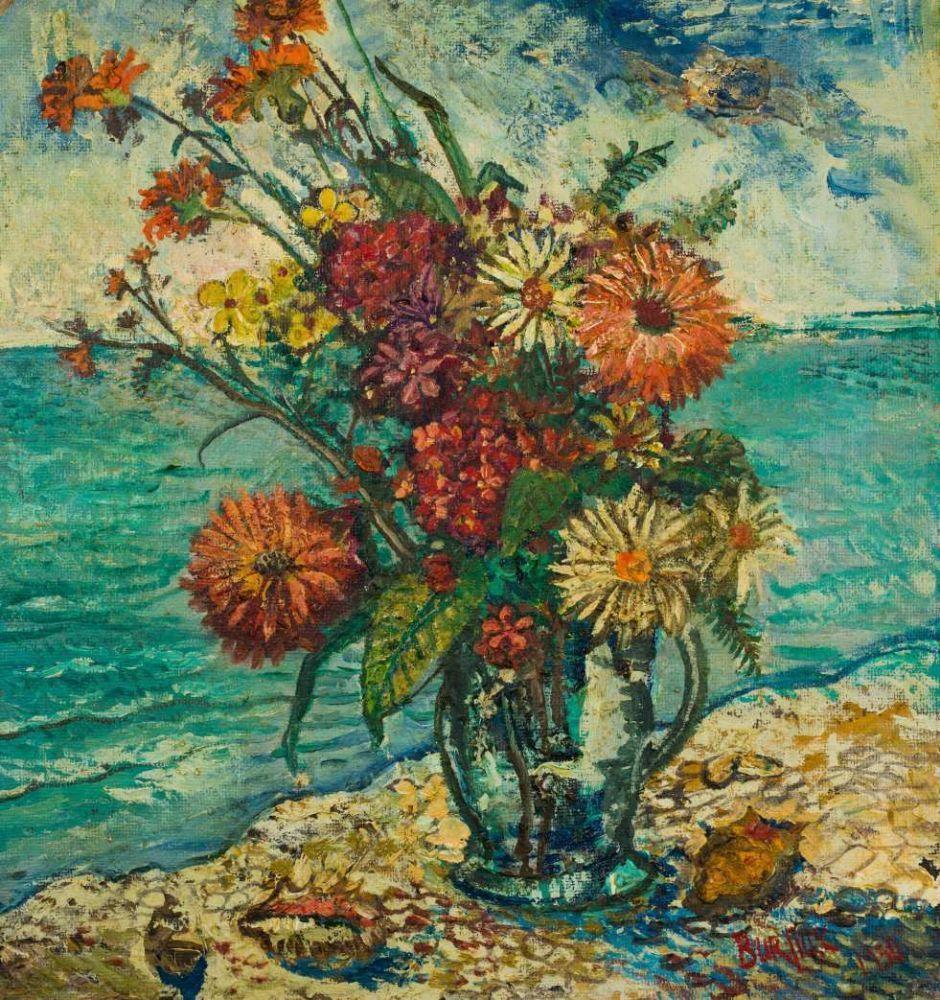 BURLIUK DAVID (1882-1967) Bouquet de fleurs Huile sur carton Signée et datée «Burliuk 1950 » en